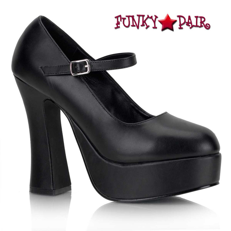 Mary Janes Gothic Punk Alternative Pumps | DOLLY-50 color black vegan leather