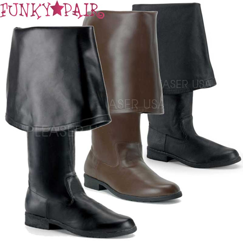 Funtasma | Maverick-2045 Men's Pirate Boot with Bell Cuff. Color available: Black leather, Black Faux Leather, Brown Faux Leather