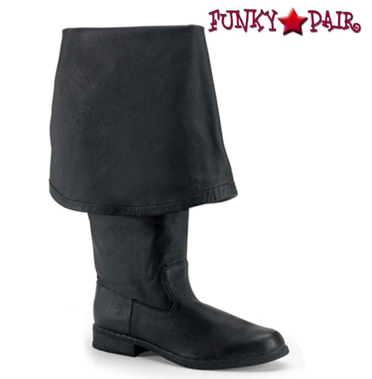 Men's Black Leather Pirate Boot with Bell Cuff | Funtasma Maverick-2045 Color