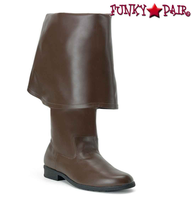 Men's Brown Pirate Boot with Bell Cuff | Funtasma Maverick-2045 Color Faux Leather