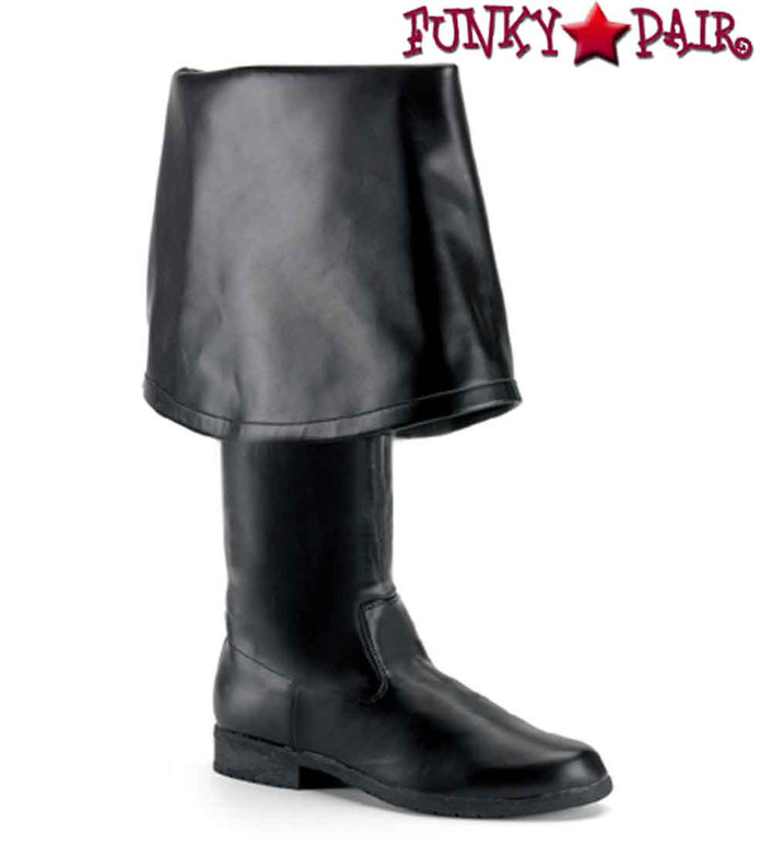 Maverick-2045 Men's Pirate Boot with Bell Cuff | Funtasma Color Black Faux Leather