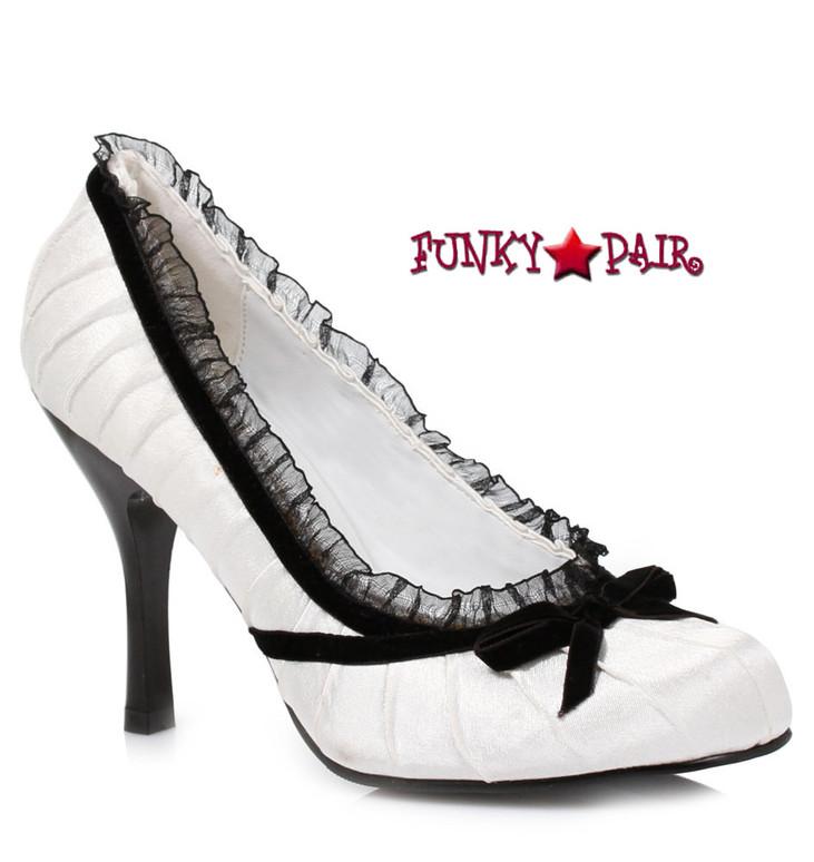 Ellie Shoes | 406-Doll, 4 Inch Satin Pump White