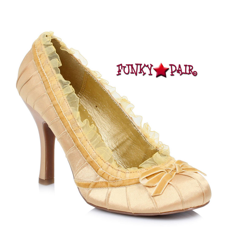 Ellie Shoes | 406-Doll, 4 Inch Satin Pump Gold