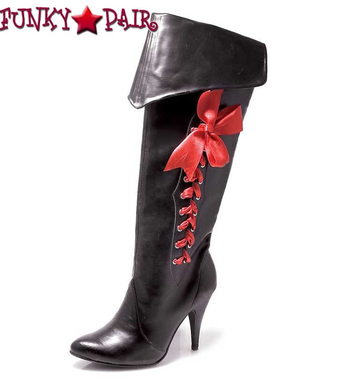 418-Pirate, Women's Pirate Boot with Red Lace by Ellie Shoes