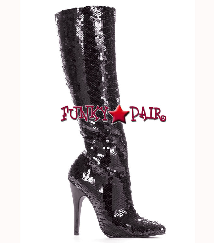 "Ellie Shoes | 511-Tin 5"" Sequins Knee High Boot Black"
