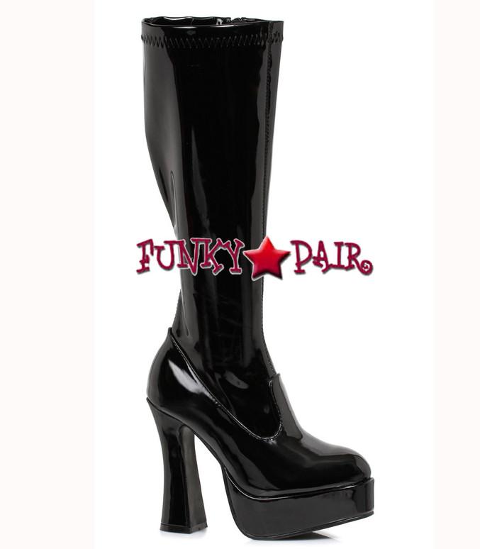 "Ellie Shoes | E-Chacha 5"" Knee High GoGo Boot Black Shiny Patent"