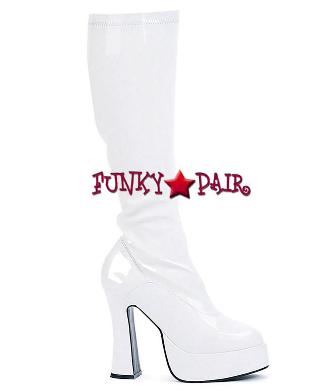 "Ellie Shoes | E-Chacha 5"" Knee High GoGo Boot White Shiny Patent"
