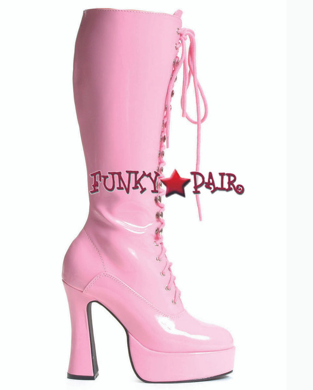 "Pink Easy 5"" Lace Up Chunky GoGo Boots"