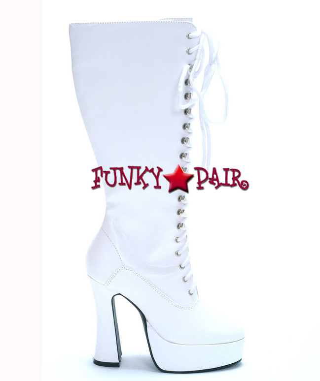 "White Easy 5"" Lace Up Chunky GoGo Boots"