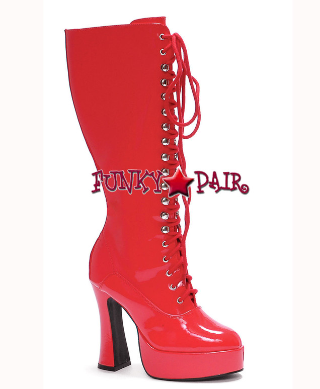 "Red Easy 5"" Lace Up Chunky GoGo Boots"