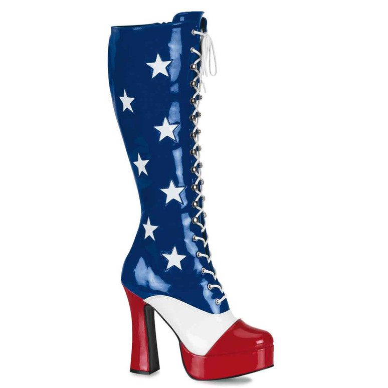 ELECTRA-2030, Women's Patriotic Red/white/Blue Boot | Funtasma