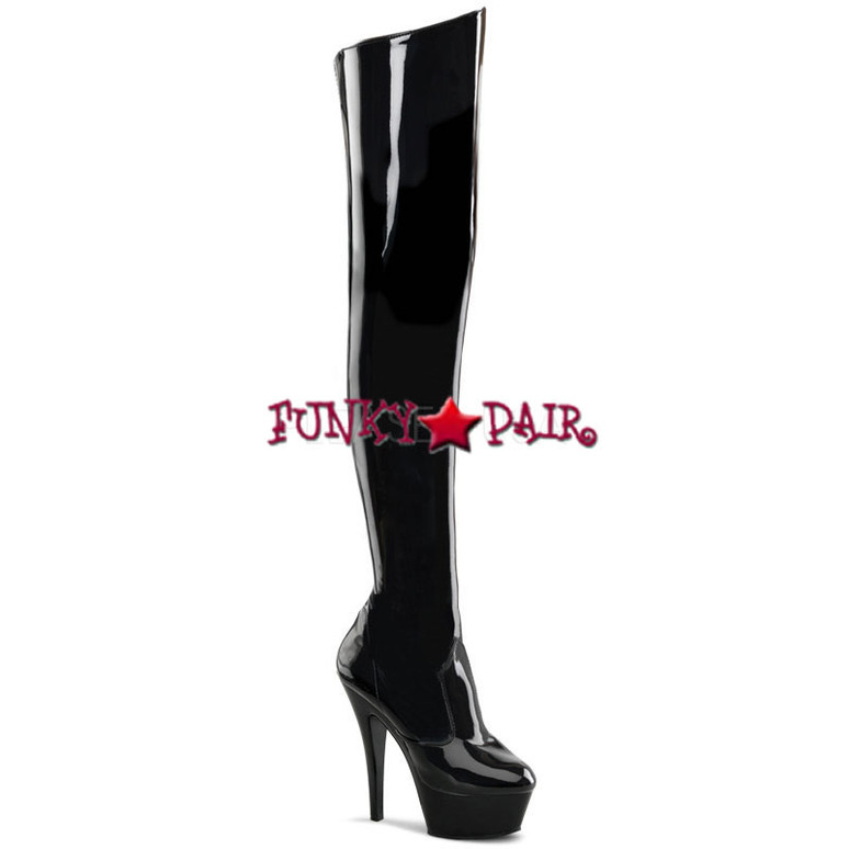 KISS-3010, Platform Thigh-high boots * Made by PLEASER Shoes Black