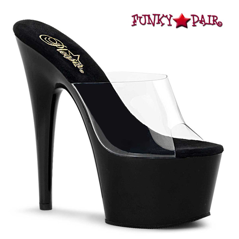 "ADORE-701, 7"" Clear/Black Exotic Dancer Shoes by Pleaser"