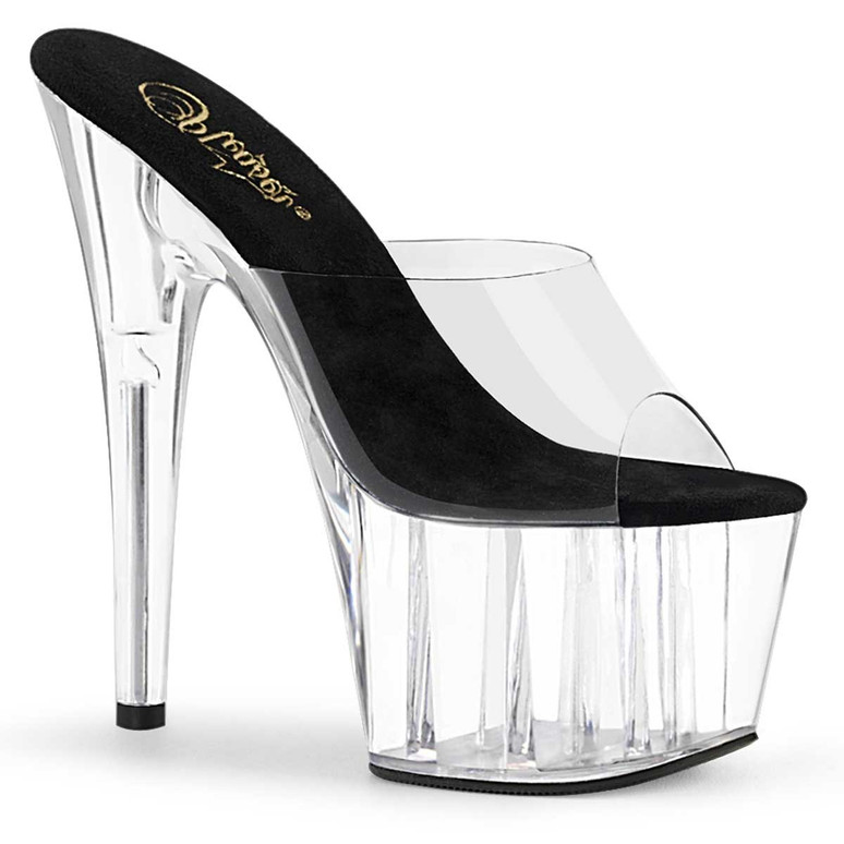 "ADORE-701, 7"" Exotic Dancer Shoes Clear/Black/Clear by Pleaser"