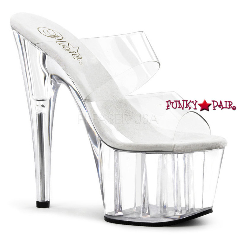 ADORE-702, Two-Band  Platform Slide Dancer Shoes clear/clear