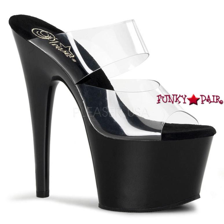 ADORE-702, Two-Band  Platform Slide Dancer Shoes clear/black