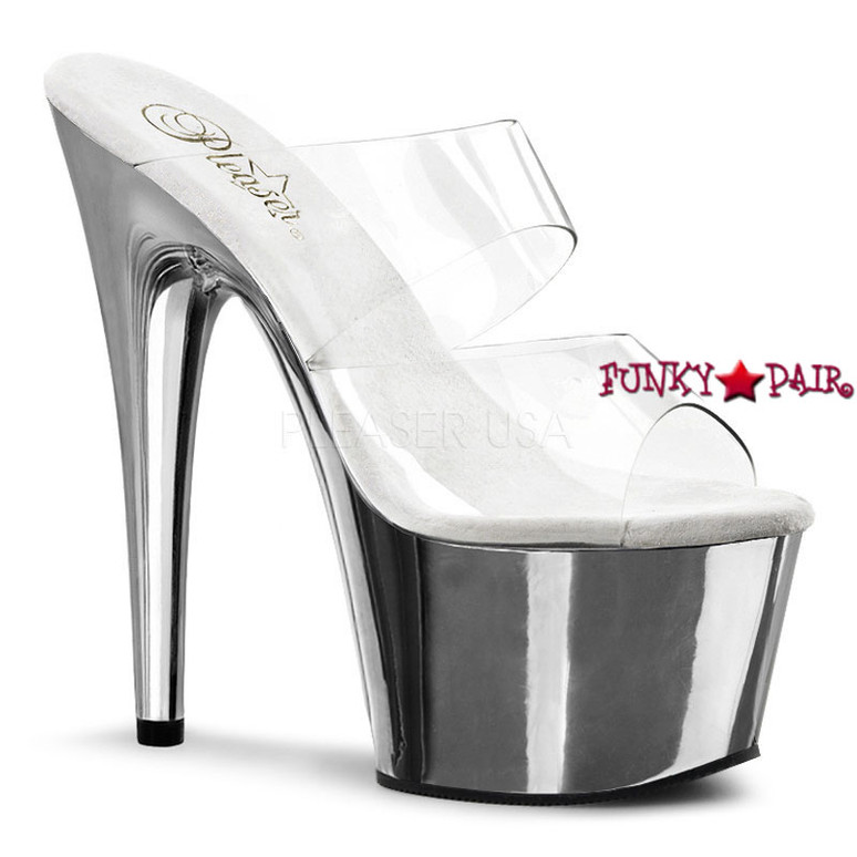 ADORE-702, Two-Band  Platform Slide Dancer Shoes clear/silver