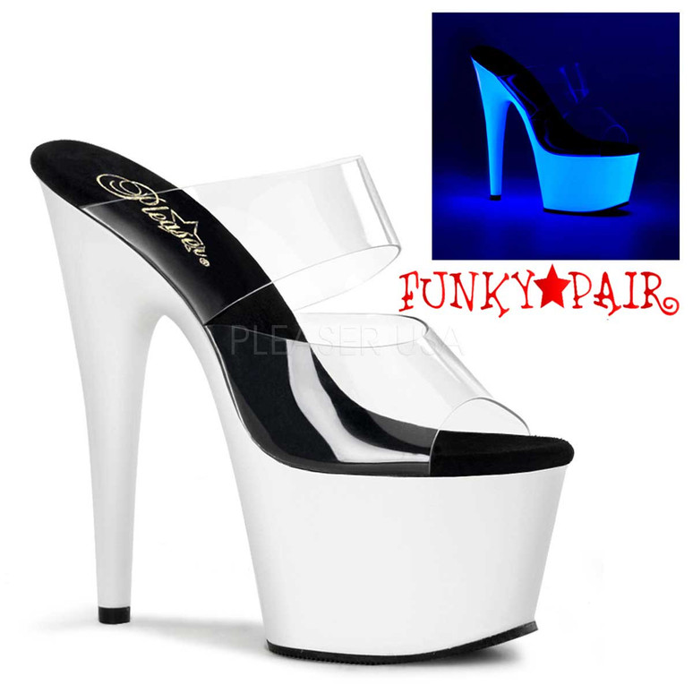 Stripper Shoes | ADORE-702UV, UV Platform Neon Slide Stripper Shoes White