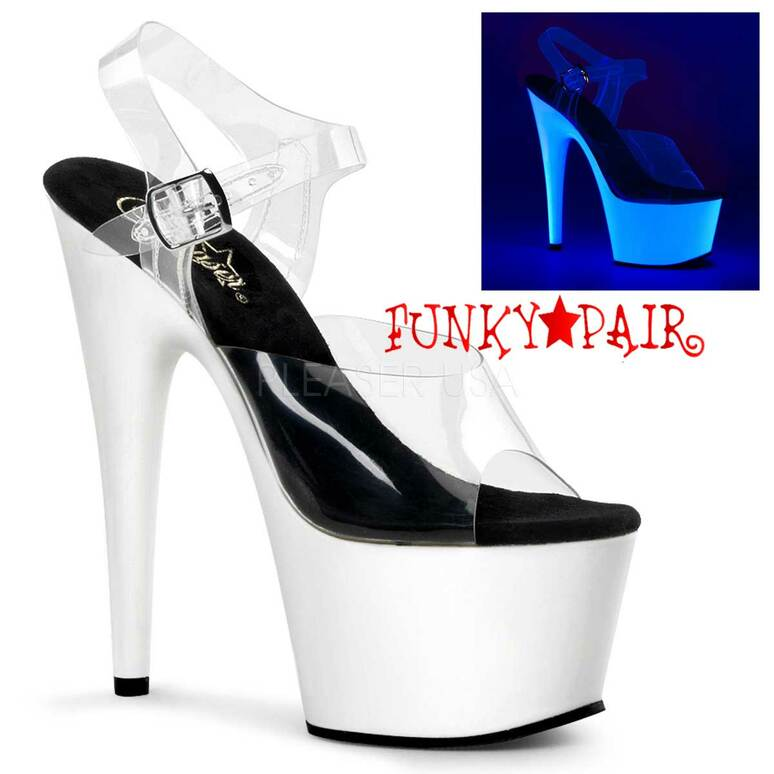 White Neon Bottom Ankle Strap Pleaser | ADORE-708UV,