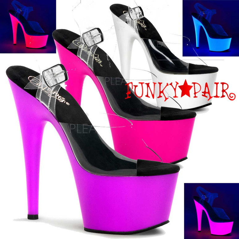 Pleaser | ADORE-708UV, Neon Bottom Ankle Strap