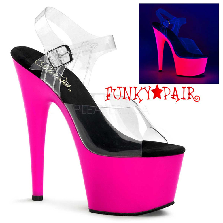Hot Pink Neon Bottom Ankle Strap Pleaser | ADORE-708UV,