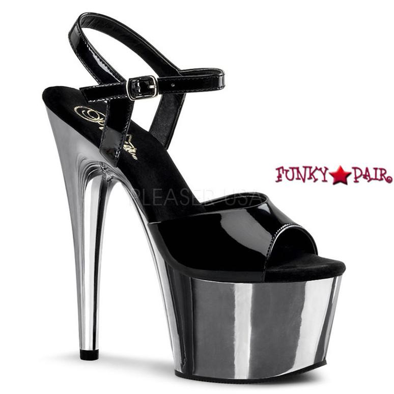 ADORE-709, 7 Inch Platform  Ankle Strap Sandal Black/Silver Chrome
