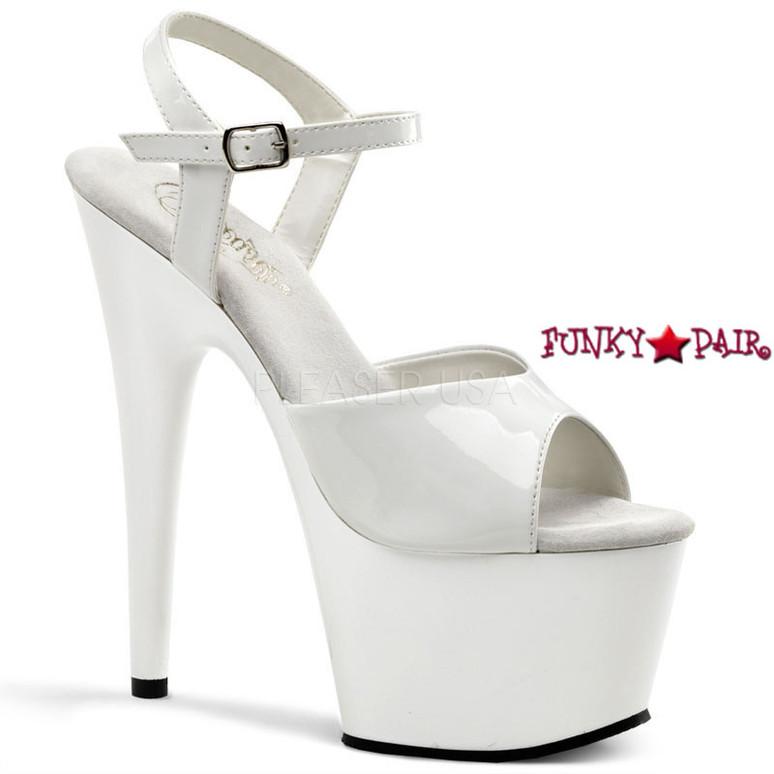 ADORE-709, 7 Inch Platform  Ankle Strap Sandal White Patent