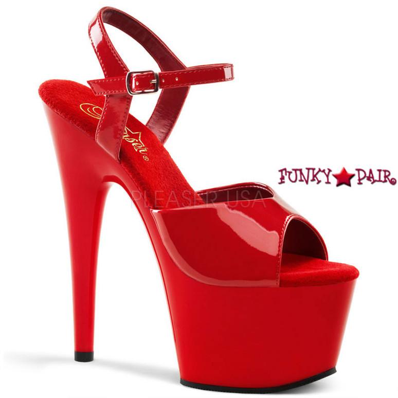 ADORE-709, 7 Inch Platform  Ankle Strap Sandal Red