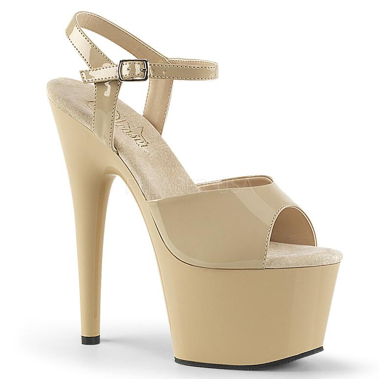 ADORE-709, 7 Inch Platform  Ankle Strap Sandal Cream