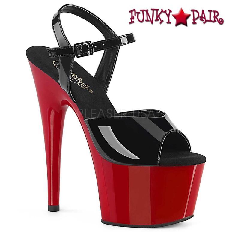 Pleaser Shoes | ADORE-709, Platform Dancer Shoes color black/red