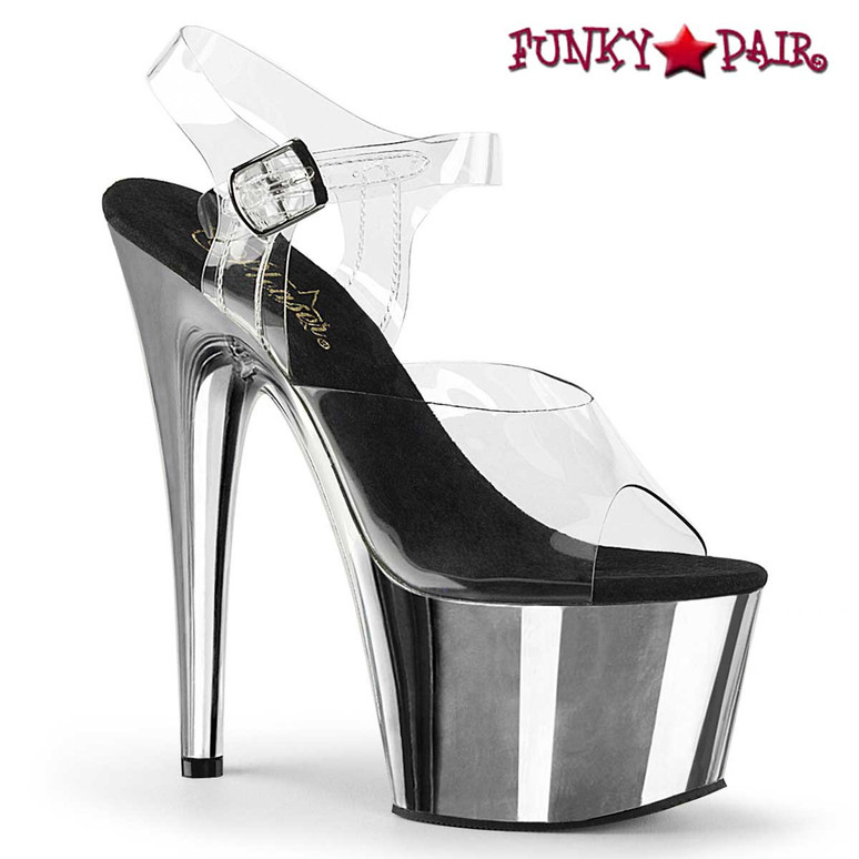 Adore-708 Silver CHROME Stripper Shoes