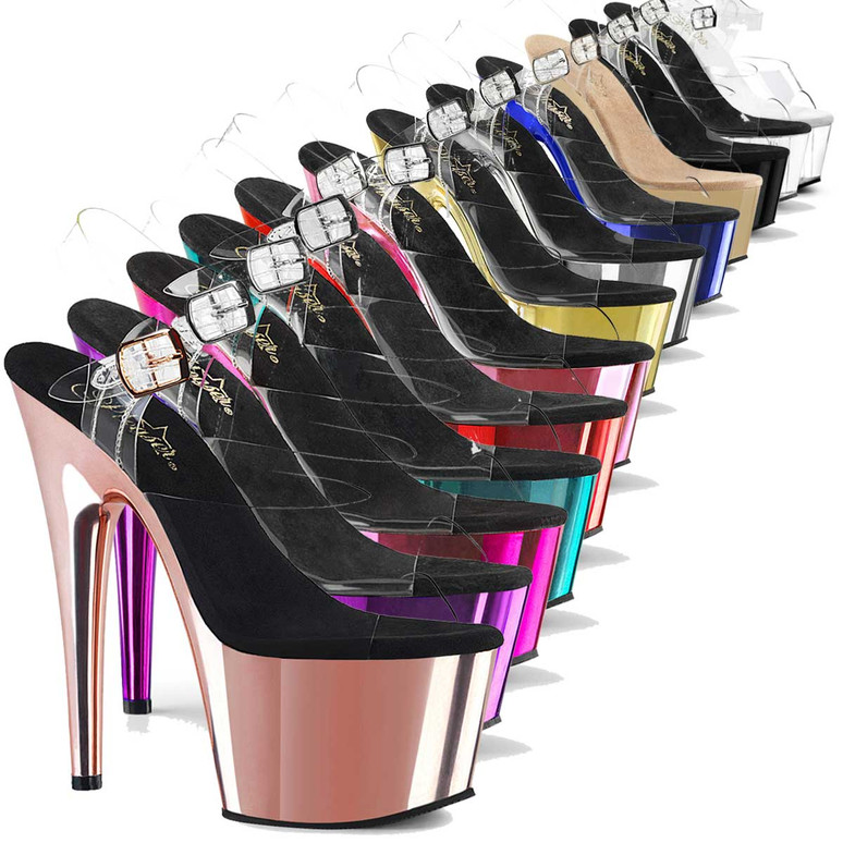 "Pleaser Adore-708, 7"" CHROME Stripper Shoes"