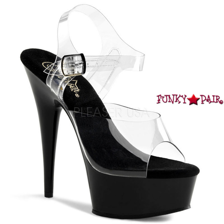 DELIGHT-608, 6 Inch High Heel with 1.75 Inch Platform Clear Ankle Strap Shoes color clear/black