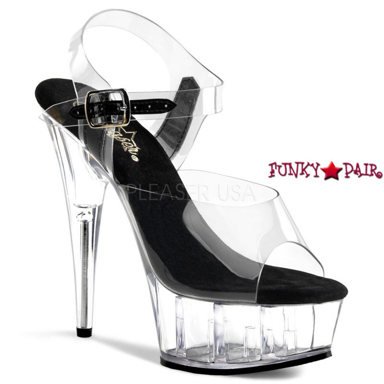 DELIGHT-608, 6 Inch High Heel with 1.75 Inch Platform Clear Ankle Strap Shoes color clear/black/clear