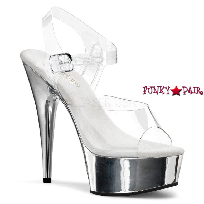 DELIGHT-608, 6 Inch High Heel with 1.75 Inch Platform Clear Ankle Strap Shoes color clear/silver chrome