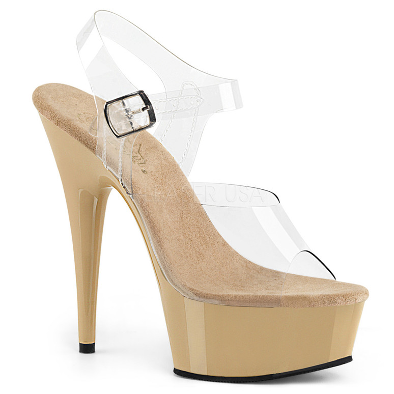 DELIGHT-608, 6 Inch High Heel with 1.75 Inch Platform Clear/Cream
