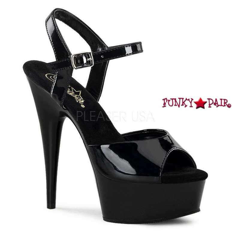 DELIGHT-609, 6 Inch Stiletto Heel Ankle Strap Platform Shoes color Black Patent