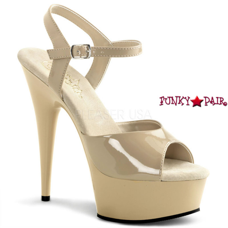 DELIGHT-609, 6 Inch Stiletto Heel Ankle Strap Platform Shoes color Cream