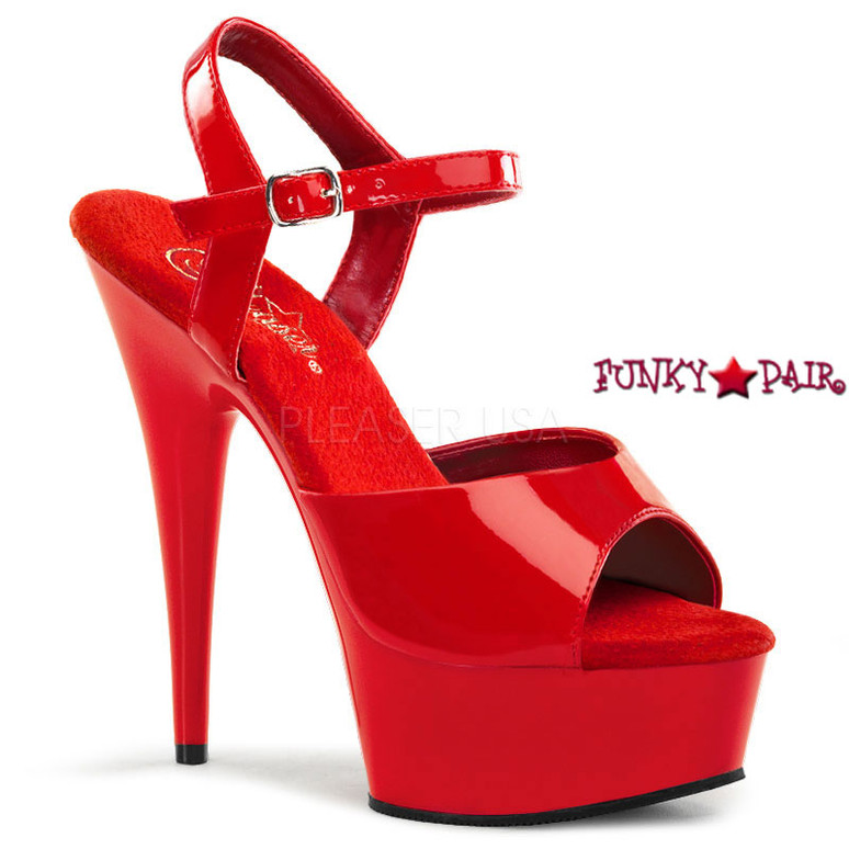 DELIGHT-609, 6 Inch Stiletto Heel Ankle Strap Platform Shoes Color Red