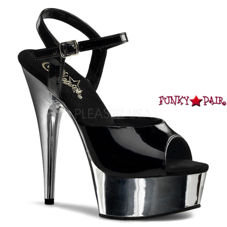 DELIGHT-609, 6 Inch Stiletto Heel Ankle Strap Platform Shoes color Silver Chrome