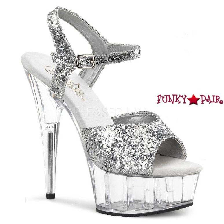 DELIGHT-609, 6 Inch Stiletto Heel Ankle Strap Platform Shoes Silver Glitter