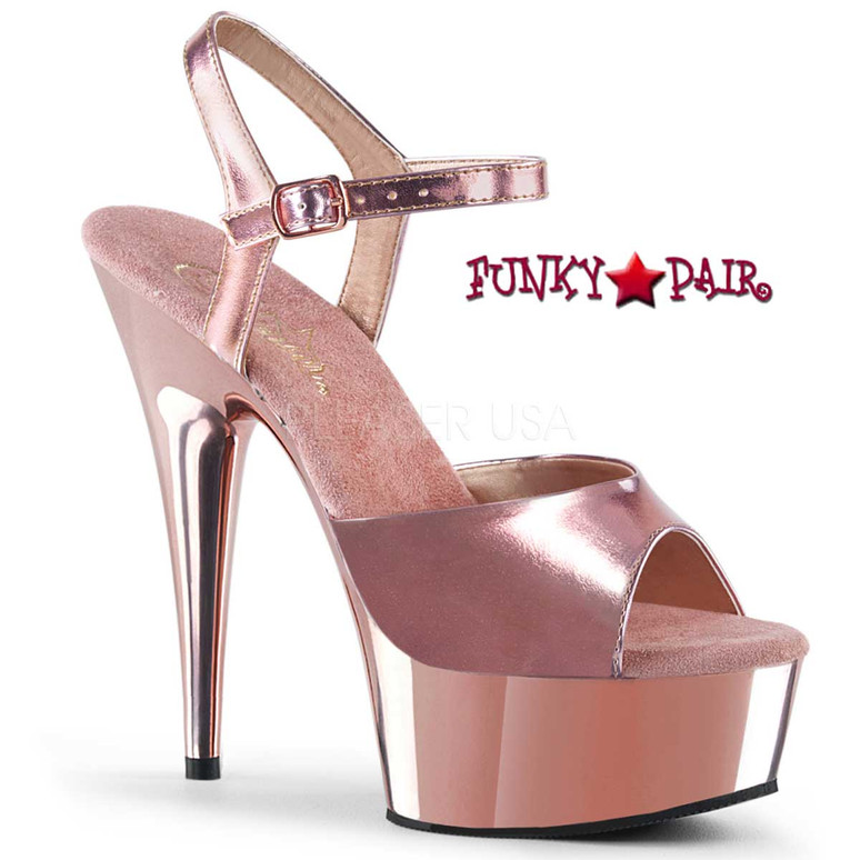 Pleaser | Pole Dancing Shoes DELIGHT-609 color Rose Gold