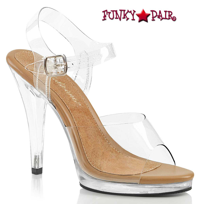 """FLAIR-408, 4.5"""" Clear Dress Shoes with Ankle Strap clear/Tan by Fabulicious"""