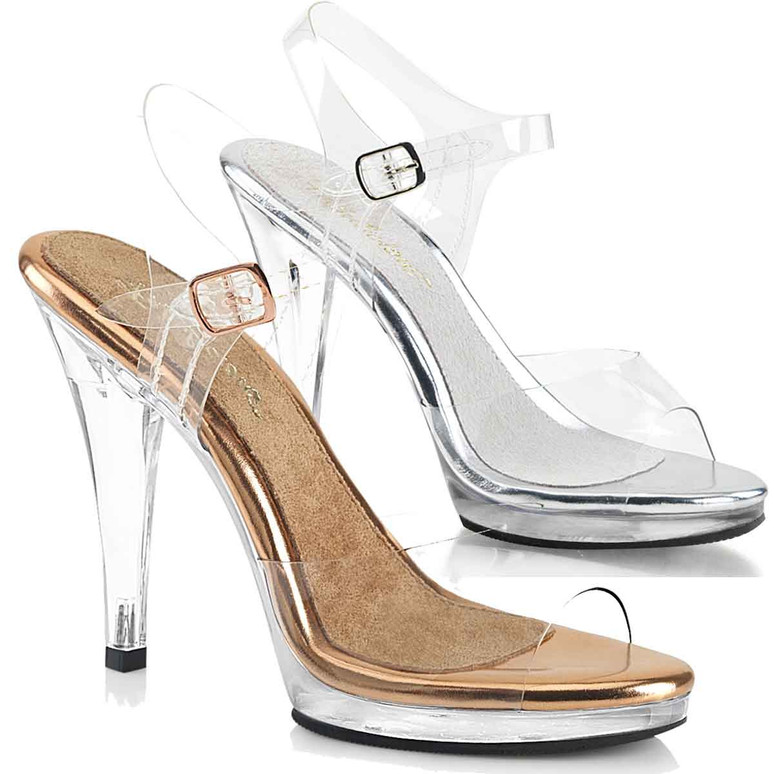 """FLAIR-408, 4.5"""" Clear Dress Shoes with Ankle Strap by Fabulicious"""