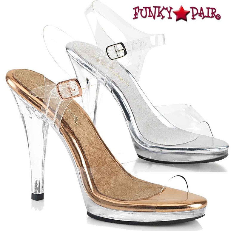 """Fabulicious FLAIR-408, 4.5"""" Clear Dress Shoes with Ankle Strap"""