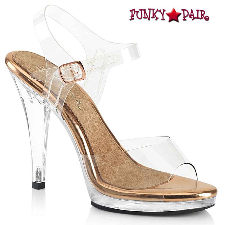 """FLAIR-408, 4.5"""" Clear/Rose Gold Dress Shoes with Ankle Strap by Fabulicious"""