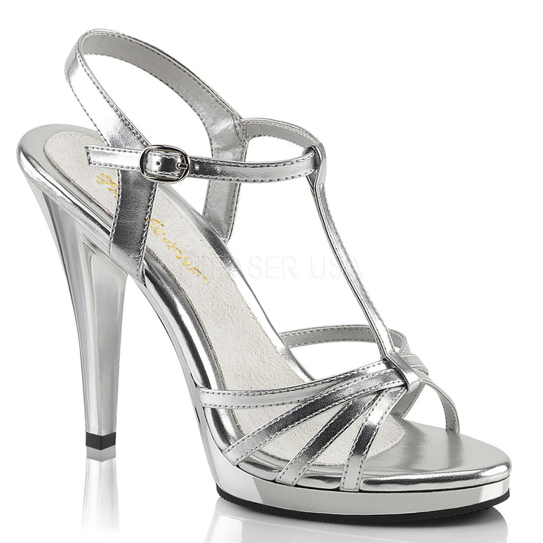 "Fabulicious | FLAIR-420, 4.5"" Heel Evening Strappy Sandal silver"