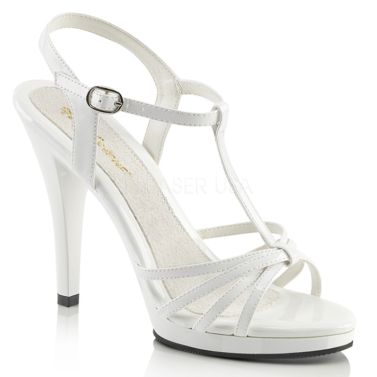 FLAIR-420, Black Pat T-Strap Platform Sandal white