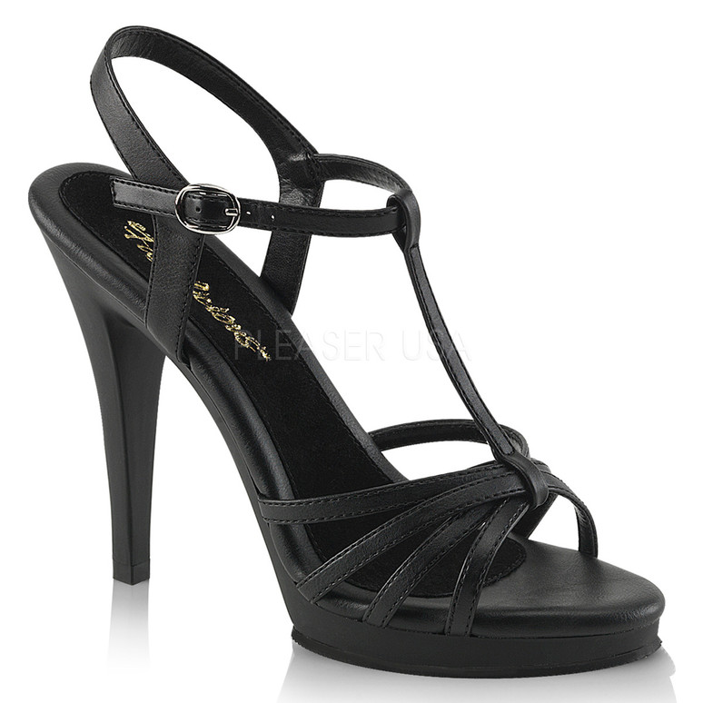 "Fabulicious | FLAIR-420, 4.5"" Heel Evening Strappy Sandal black faux leather"