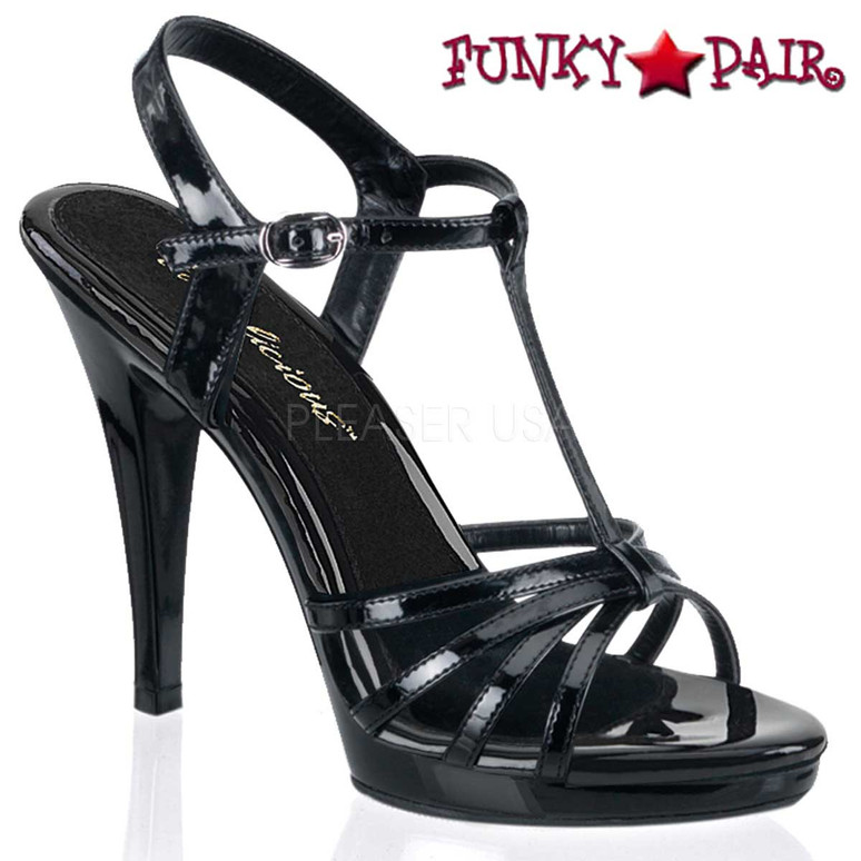 "Fabulicious | FLAIR-420, 4.5"" Heel Evening Strappy Sandal black patent"